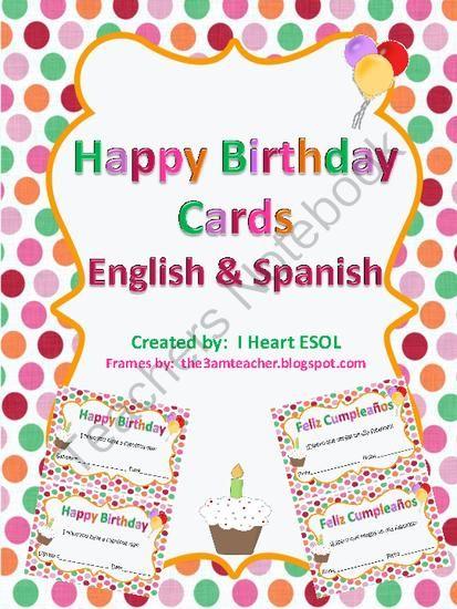 Happy Birthday Cards English And Spanish Teachers Notebook Free Happy Birthday Cards Happy Birthday Cards Birthday Cards