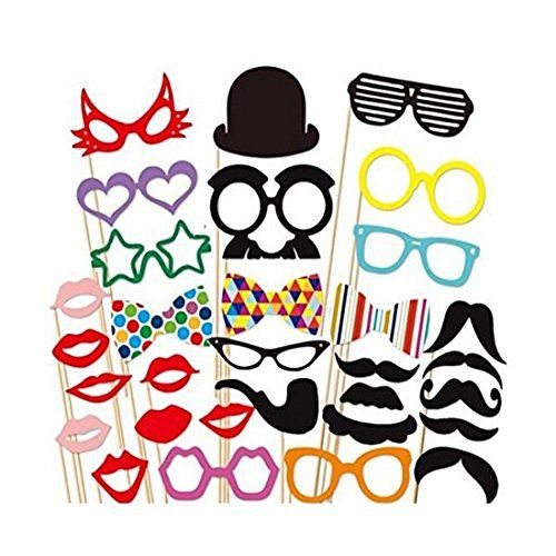 Photo Booth Props DIY Kit for happy birthday Party Photobooth Dress-up Accessories