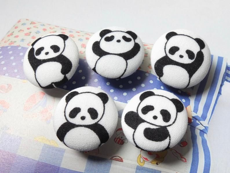 Lovely Cute Kawaii Black And White Panda Handmade Fabric Etsy In 2020 Painted Rock Animals Painted Rocks Rock Crafts