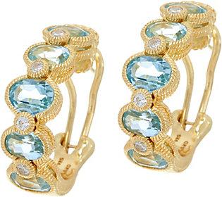 45e51141b9b25 Judith Ripka Sterling & 14K Clad Gemstone & Diamonique Hoop Earrings ...