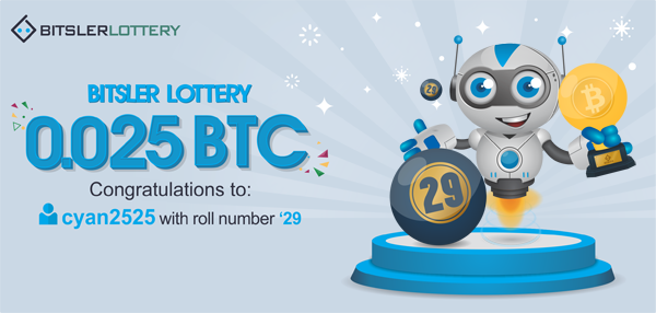 Congratulations to cyan2525 who won 0 025 BTC ($381) ! The