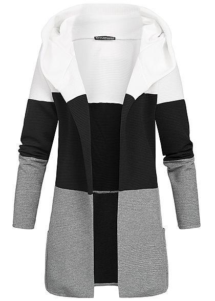 Cardigan Fashion Styleboom Kapuze Damen Weiss Colorblock OnwmN0v8