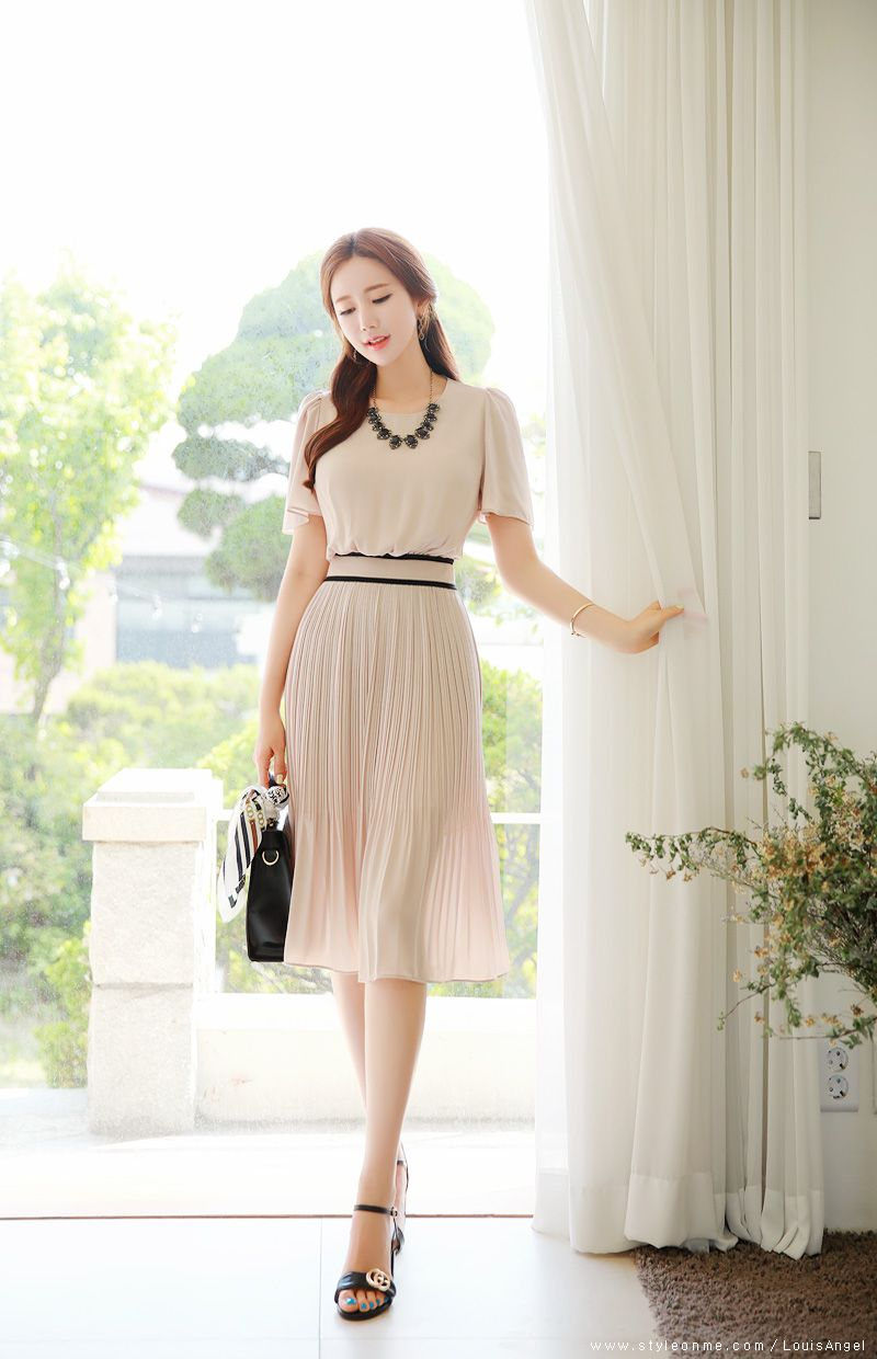 406caf3f7 Short Sleeve Pleated Long Dress in 2019