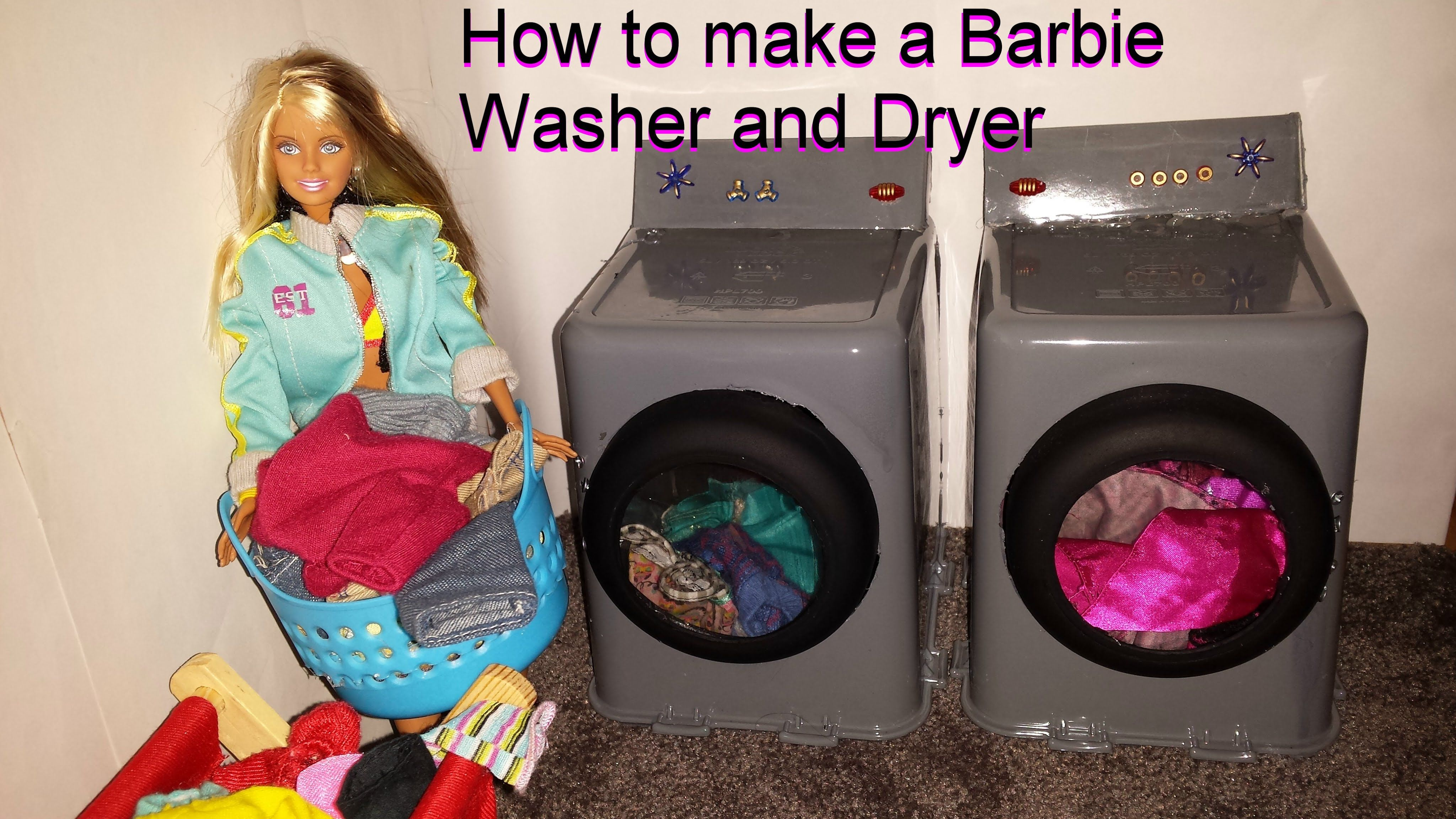 How to make a Barbie Washer and Dryer | Fashion Dolls: Stuff