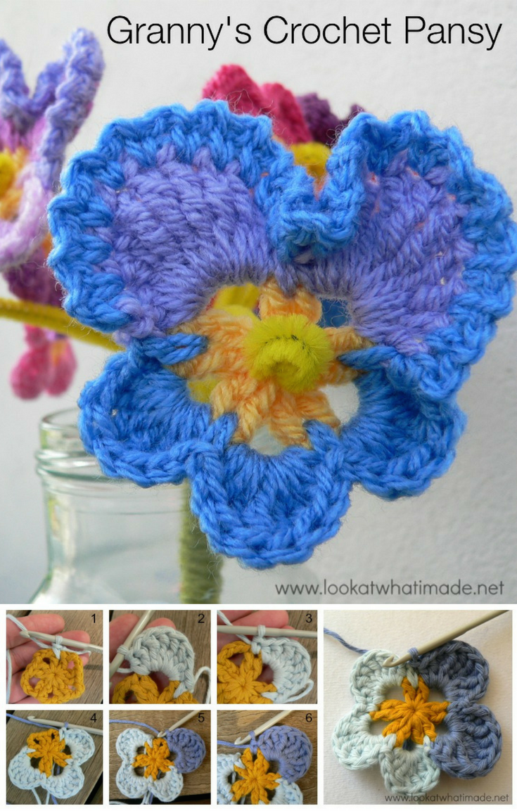 Granny\'s Crochet Pansy Pattern w/ photo tutorial | FLORES A CROCHET ...
