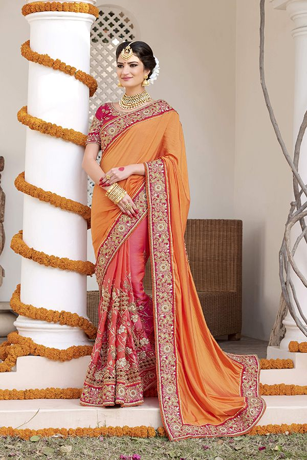 4c8b2dacdaf719 Peach & Orange Color Crepe Silk & Georgette Fabric Saree | net saree ...