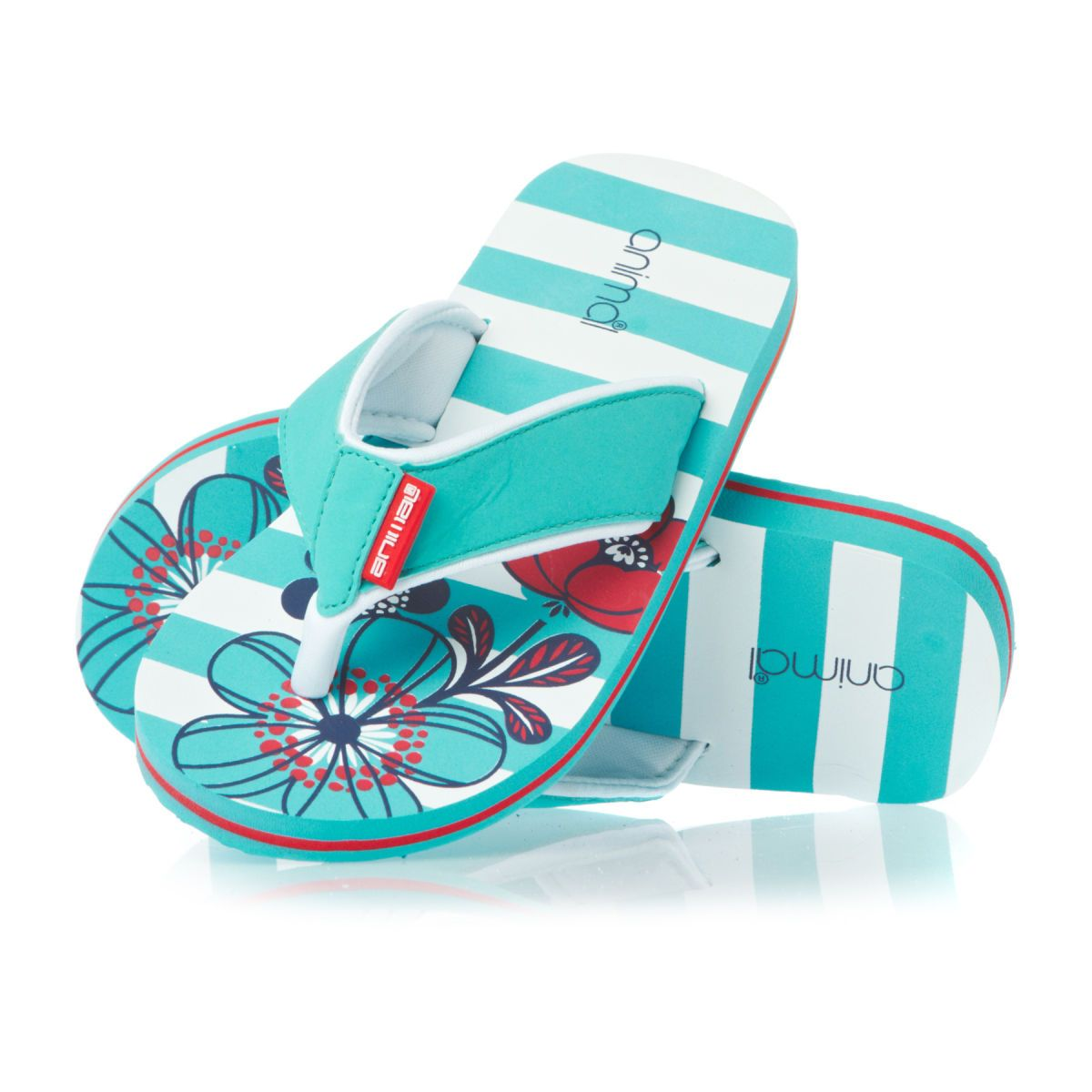 7857539918d6 Animal Swish Aop Girls Flip Flops - Turquoise
