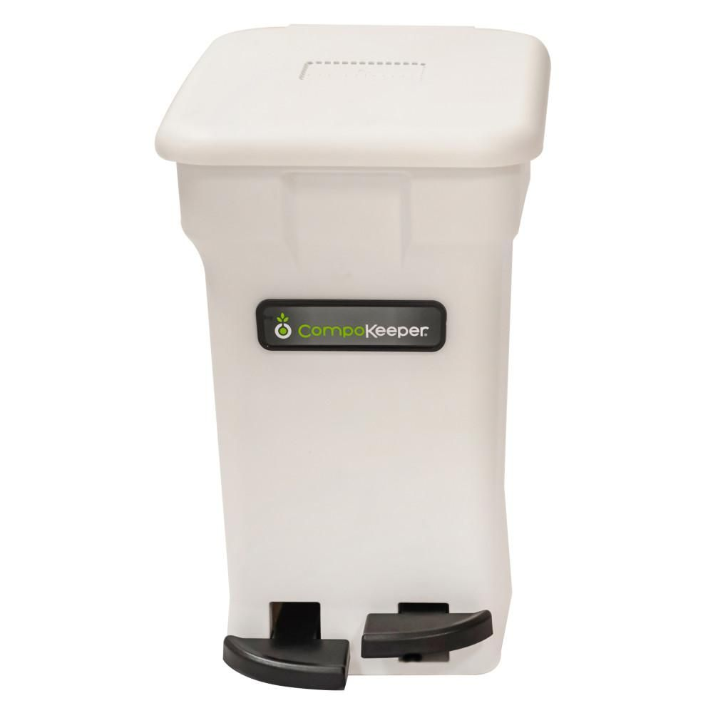 Compokeeper 6 Gal White Hands Free Indoor Compost Bin Ck 6gl Bin