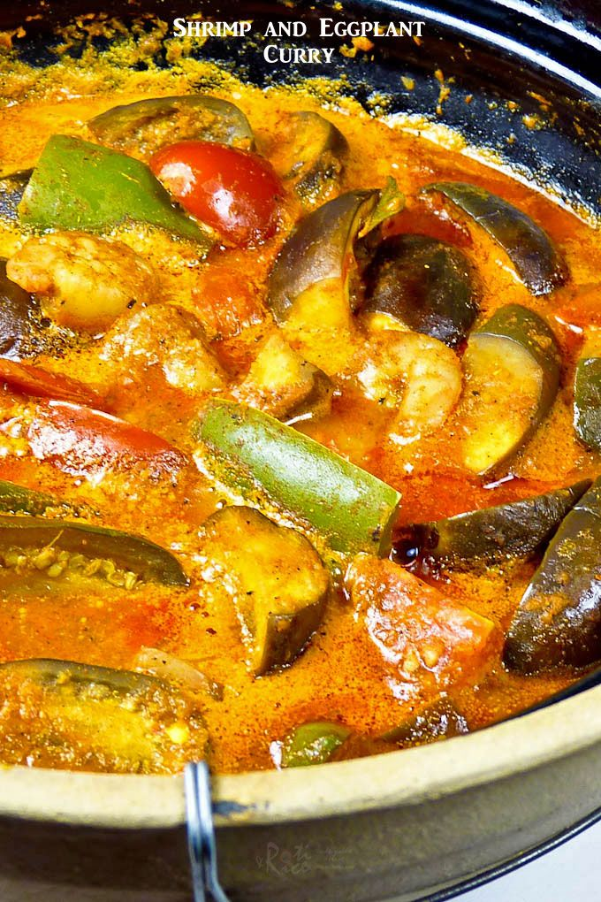 This Spicy Tangy Shrimp And Eggplant Curry Is Delicious Served With Steamed Rice And Papadums Can Be Prepared Eggplant Curry Indian Food Recipes Curry Recipes