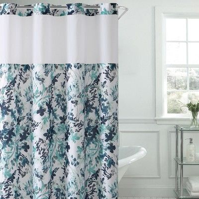 Hookless Watercolor Floral Shower Curtain With Liner Aqua In 2019