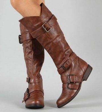 39.99 Shoehorne Montage-06 - Womens Chestnut Brown Tall Buckle ...