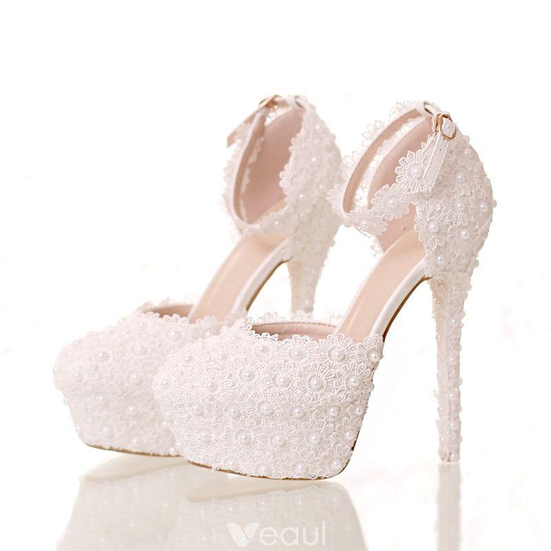 Eleganckie Biale Buty Slubne 2018 Z Koronki Kwiat Perla Z Paskiem 14 Cm Szpilki Okragle Toe Slub Wysokie Obcasy Wedding High Heels White Wedding Shoes Wedding Shoes