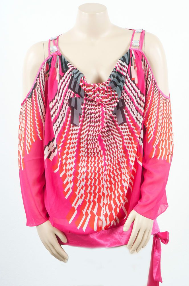 2e3ac502d8acb Foxy Fuchsia Cold Shoulder Cascading Print Madison Paige Sexy Party Plus Top