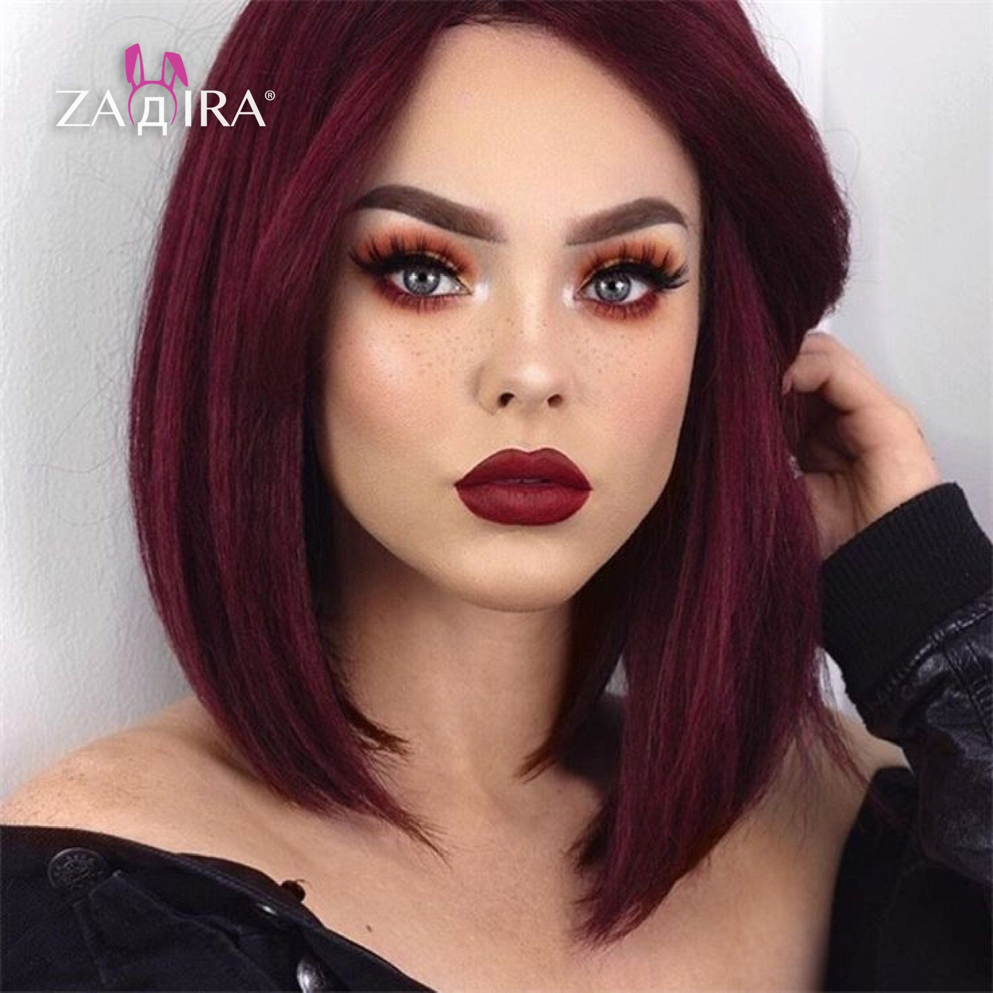 Photo of Pelucas de frente de encaje de color burdeos para mujeres, anime, pelucas de cosplay como peluca de cabello humano, peluca recta corta de vino rojo 14 in (35 cm), resistente al calor