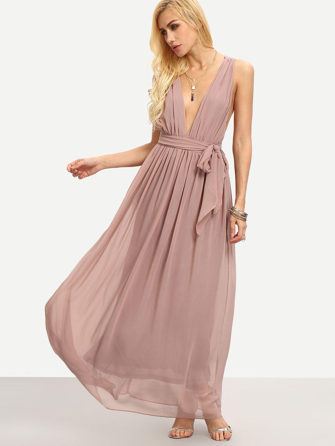 Brown Deep V Neck Tie-Waist Pleated Maxi Dress | Dream Closet by ...