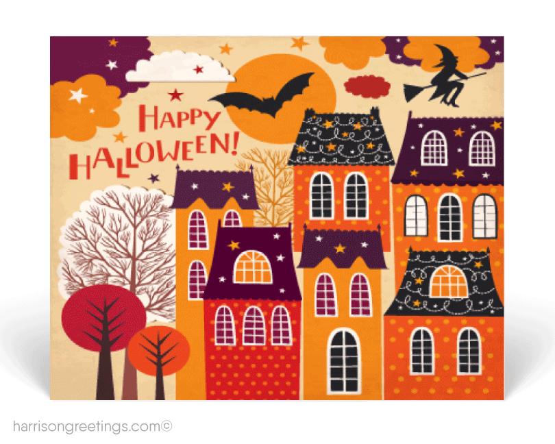 Happy Halloween Real Estate Postcards Halloween Labels Halloween Greeting Card Happy Halloween