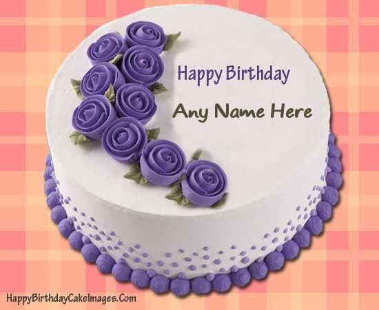 An easy way to Write Name on Purple Happy Birthday Cake ...