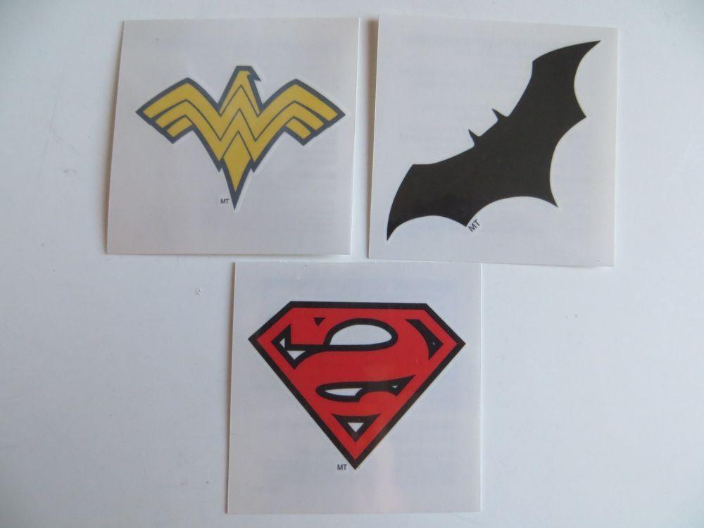 Wonder woman superman logo temporary tattoo set of 3 comic for Wonder woman temporary tattoo