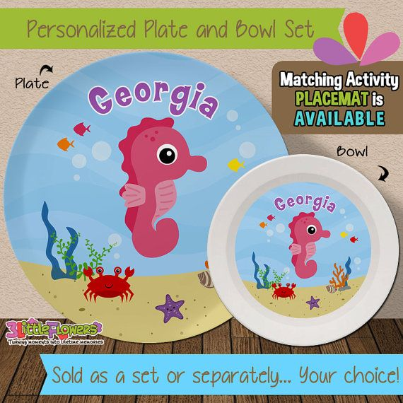 Personalized Sea Horse Plate and Bowl Set - Personalized Melamine Children Plate and Cereal Bowl -  sc 1 st  Pinterest & Personalized Sea Horse Plate and Bowl Set - Personalized Plastic ...