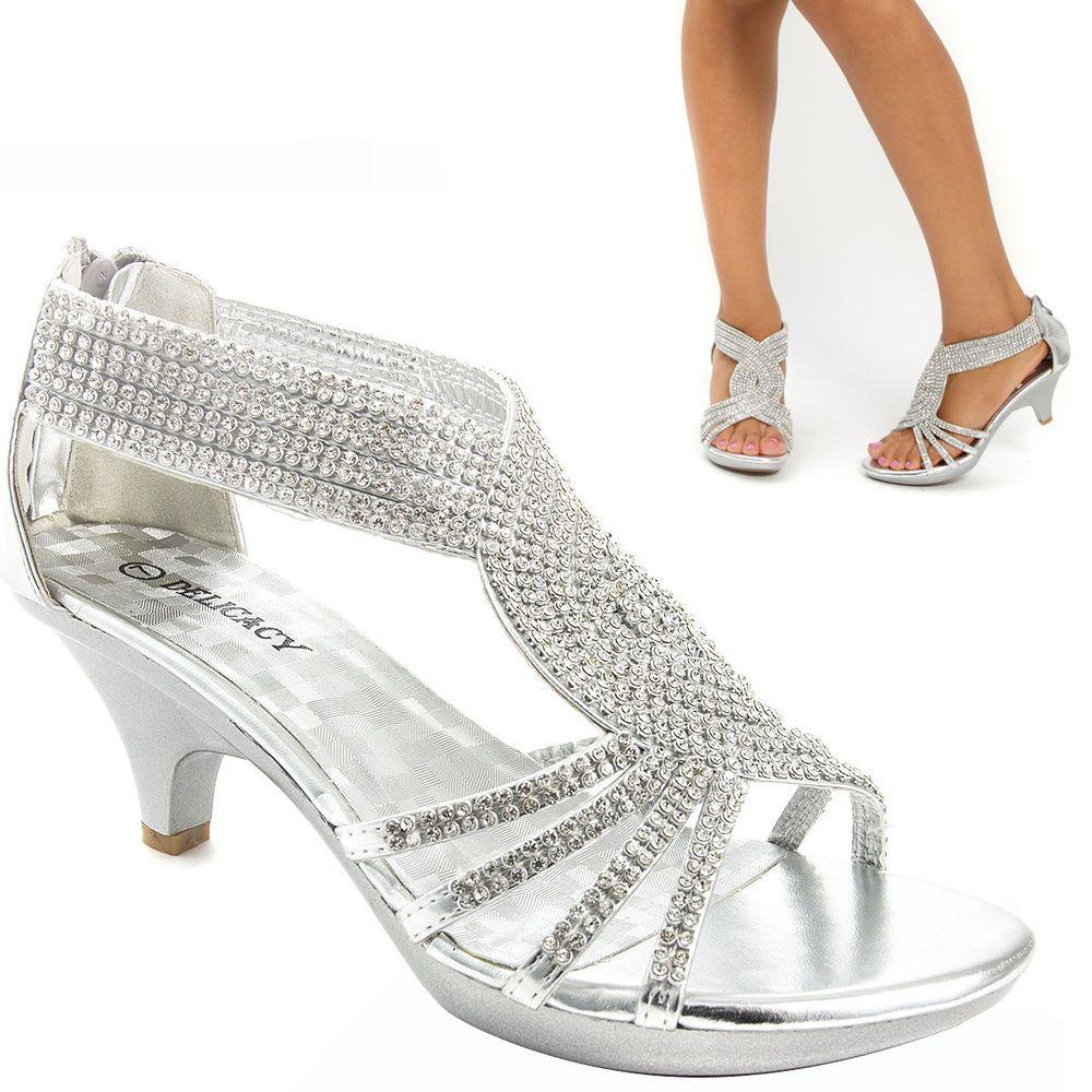 Details about Womens Ladies Low Heel Diamante Bridal Wedding