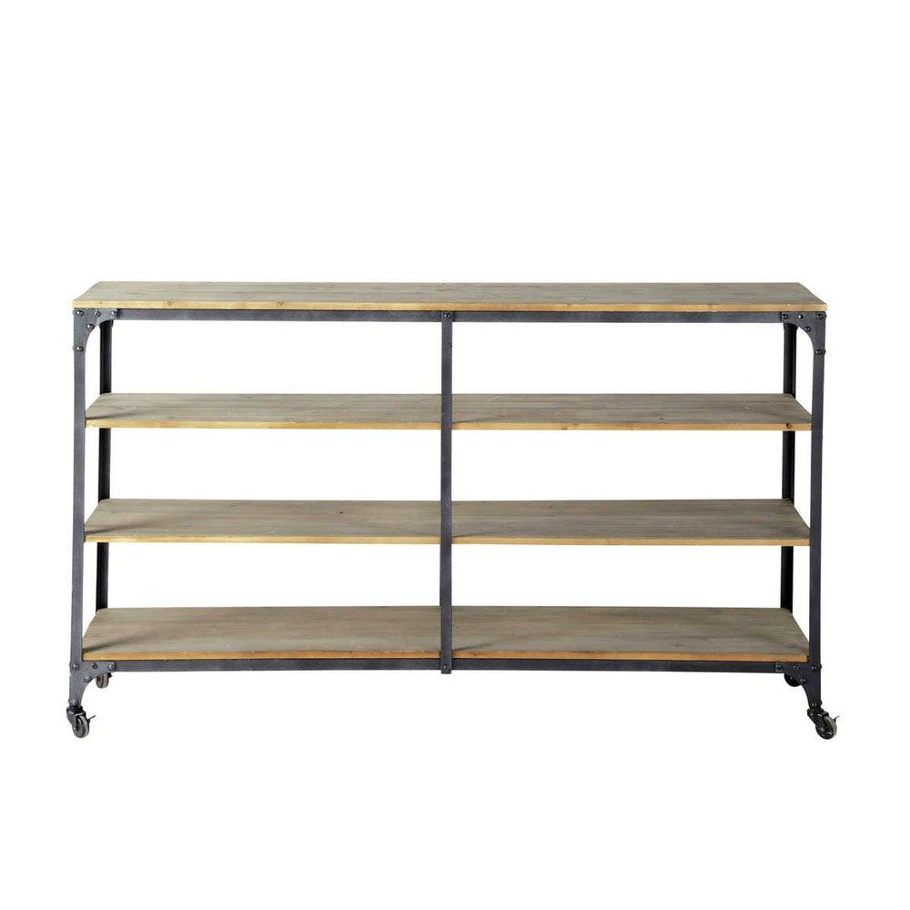Consola industrial con brooklyn interiorismo pinterest discover maisons du mondes metal and wood industrial console table on castors in charcoal grey w browse a varied range of stylish affordable furniture to geotapseo Choice Image