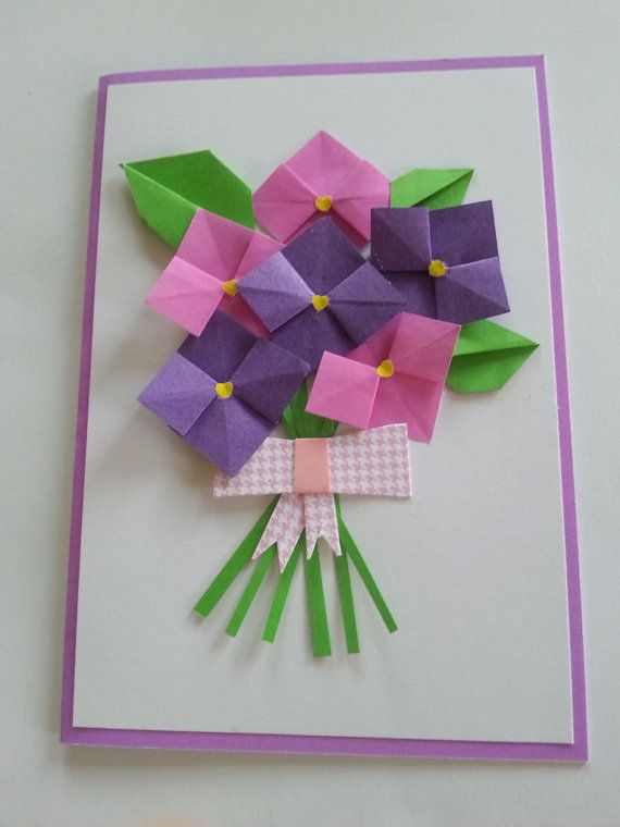 Handmade Origami Flower bouquet Card | Each flower has its own ...