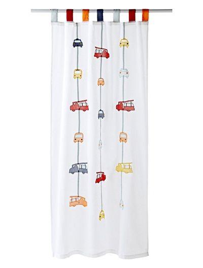 Vorhang mit Feuerwehr-Motiven WEIß BEDRUCKT Kinderzimmer