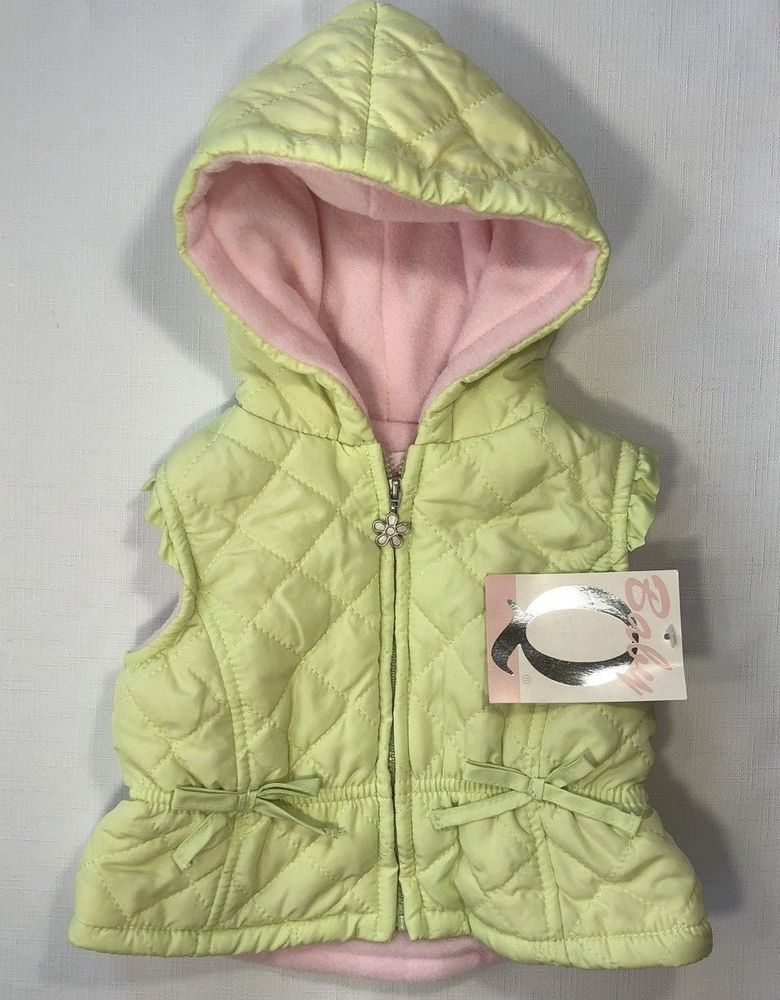 98a812431 NWT Baby Q Girls 6-9 Months Yellow-Green Quilted Hooded Vest with Pink  Lining #BabyQ #Vest #DressyEverydayHoliday