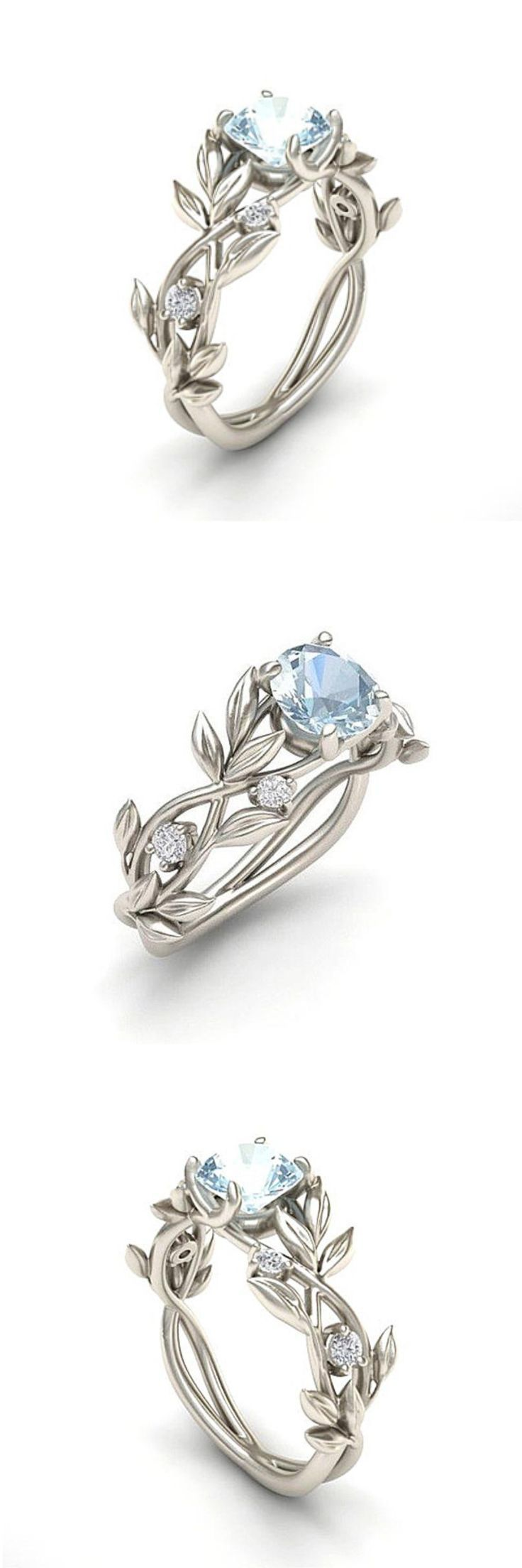 Vine Leaf Crystal Flower Vintage Ring Wedding Rings