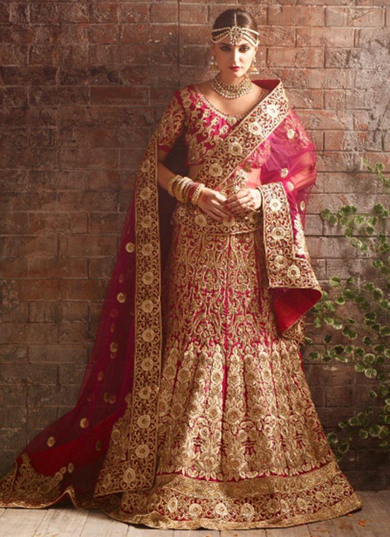 340d955e7461 Buy Fushcia color net bridal lehenga choli in UK, USA and Canada ...