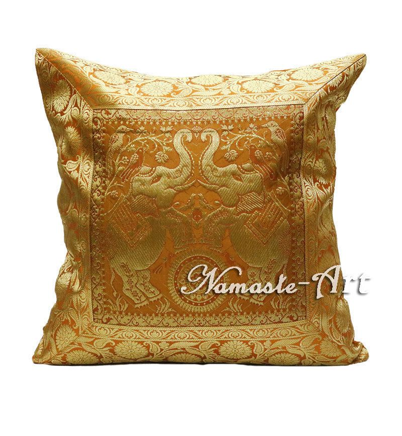 40'' Indian Silk Brocade Decorative Art Throw Ethnic Boho Cushion Unique Indian Silk Decorative Pillows