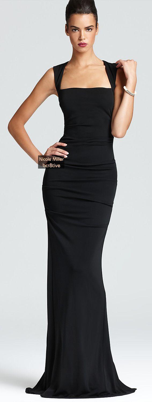 In a figureflaunting silhouette nicole millerus square neck dress