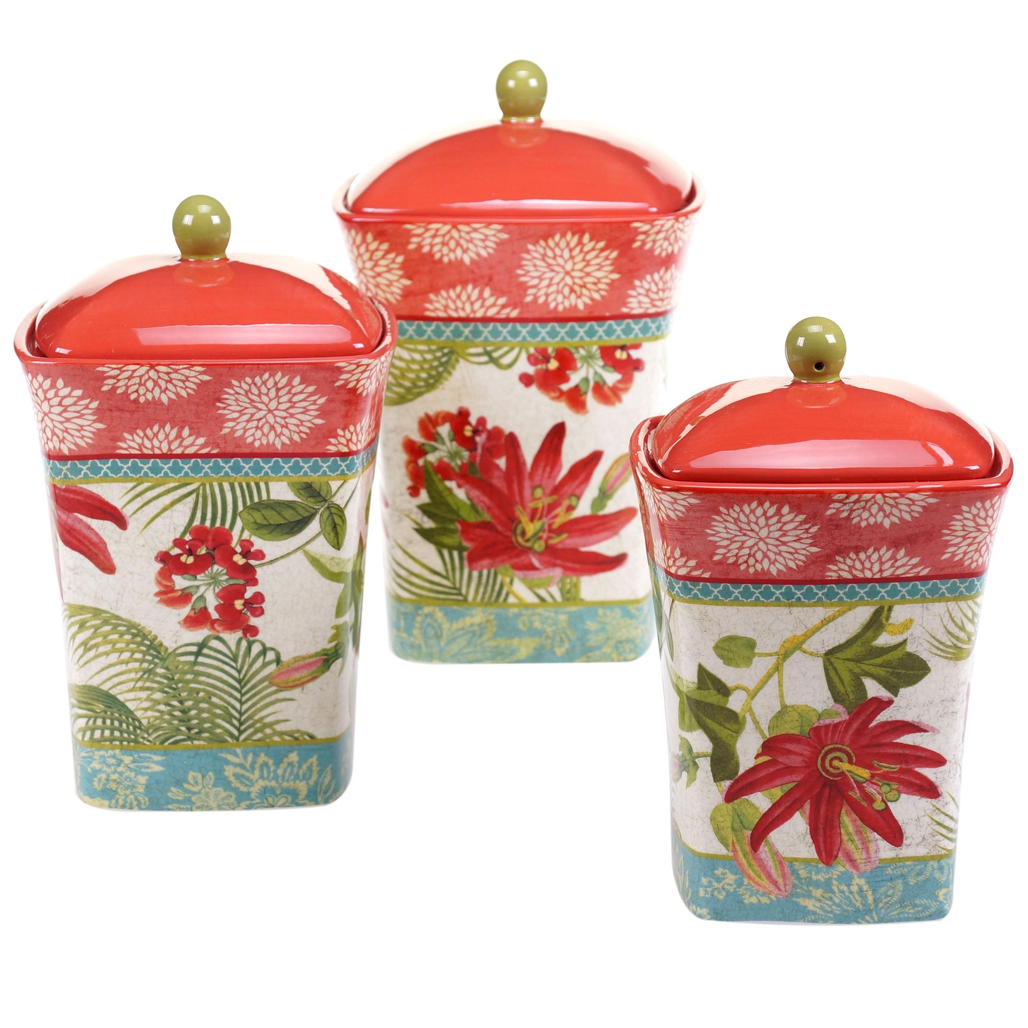 Certified international parisian fruit canister by susan winget set - Certified International Tropics 3 Pc Canister Set