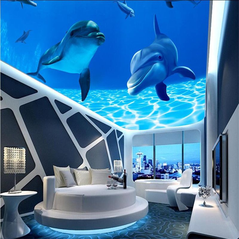 Fototapete 3D meer wasser dolphin deckenhalterung Tapete Sofa ...