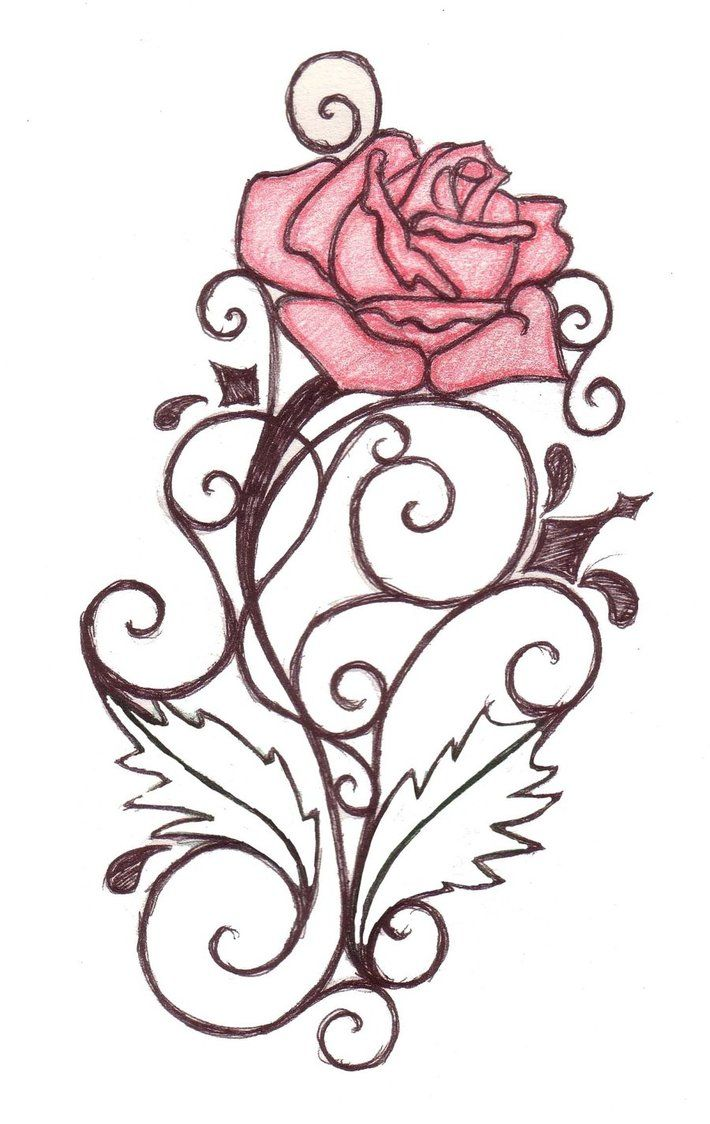 Rose Swirl Tattoo Design By Natzs101 On Deviantart Swirl Tattoo Rose Tattoo Design Tattoo Design Drawings