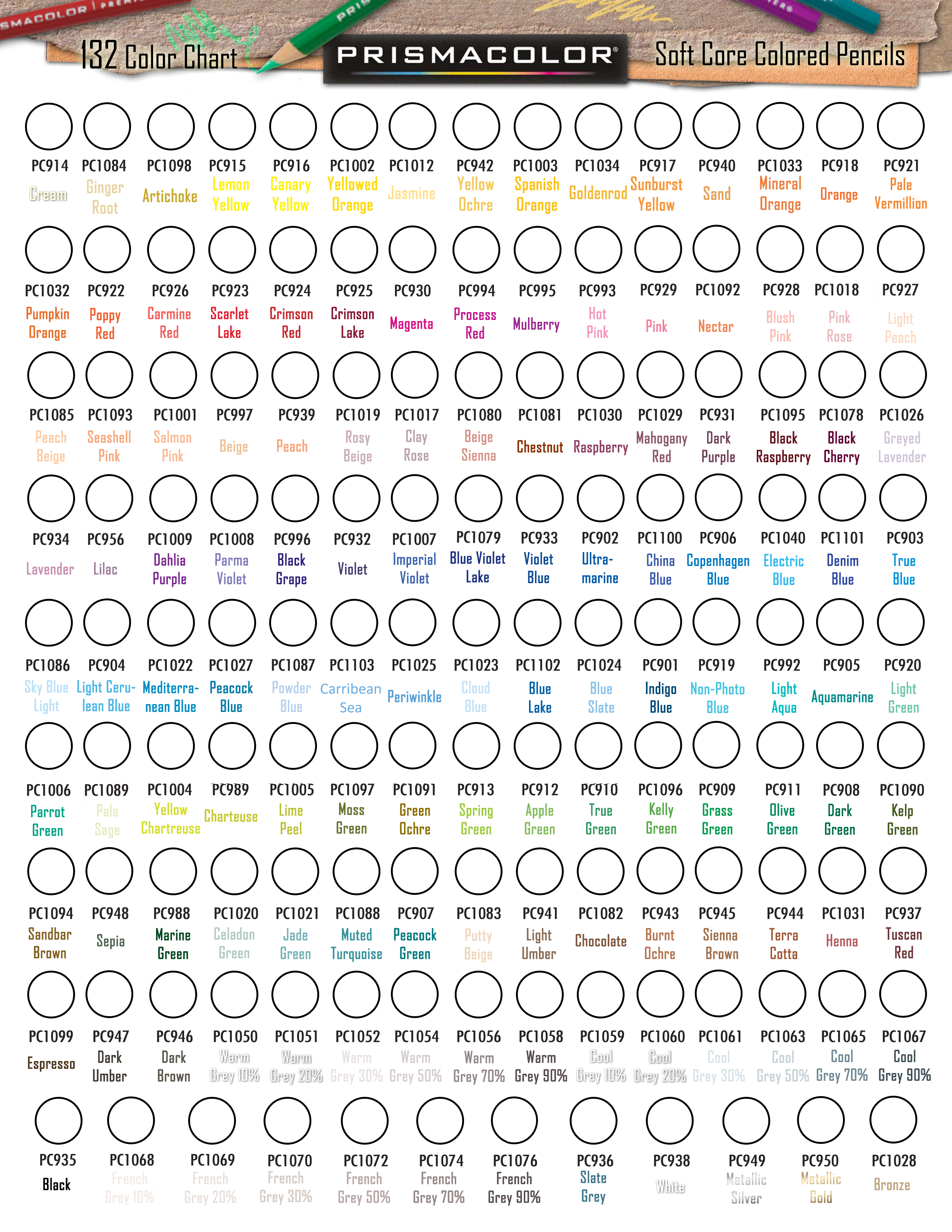 prismacolor premier colored pencil 132 blank colour chart