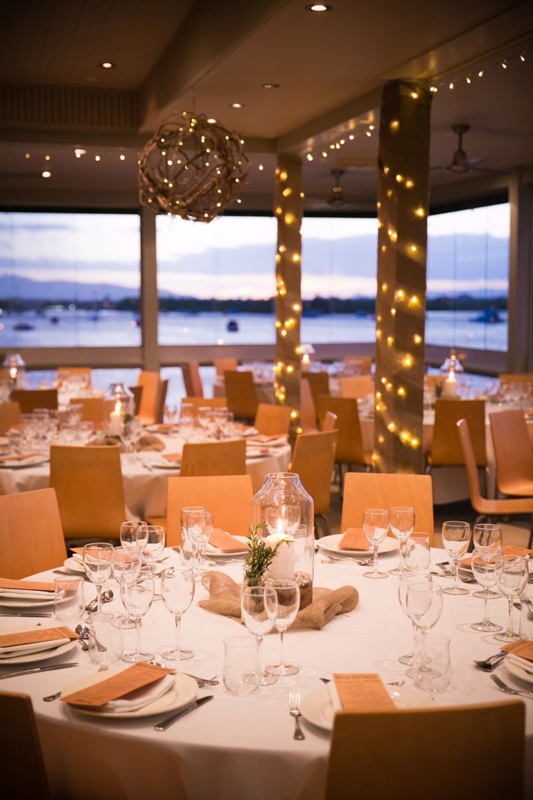 Noosa Boathouse River Room Set For A Sit Down Wedding Reception