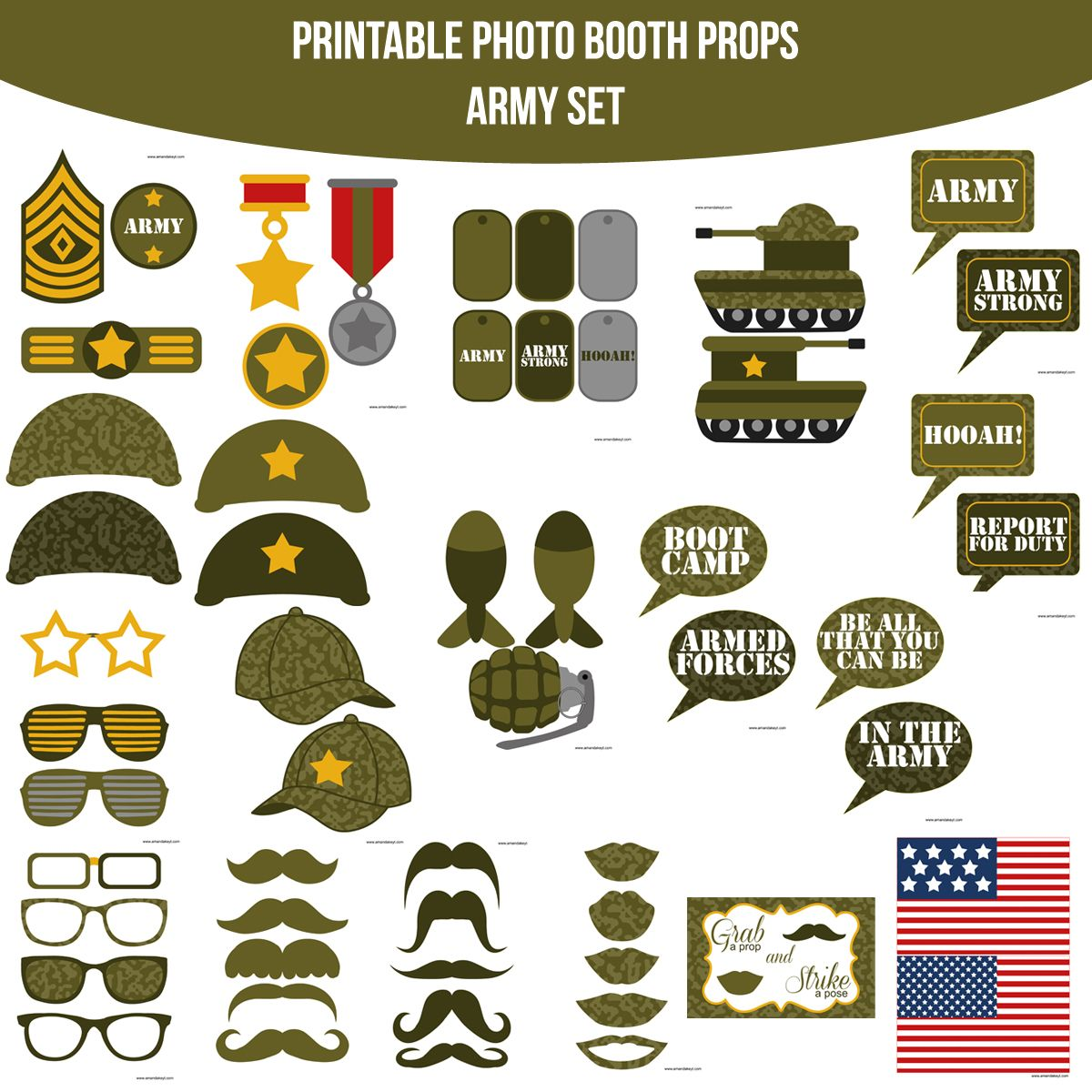 Instant Download Army Printable Photo Booth Prop Set — Amanda Keyt ...
