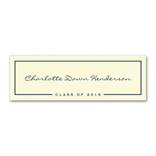 navy border ecru graduation announcement name card