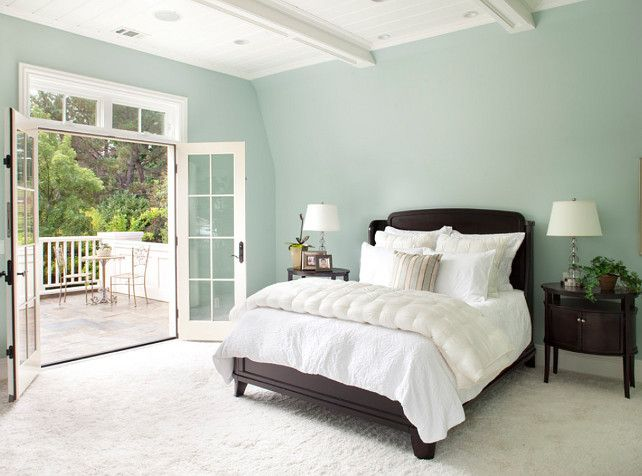 Bedroom colour Tips on Paint   Benjamin Moore Paint Color Palladian Blue  Painting a bedroom a soft but lively color makes you feel relaxed   calm  before you. Palladian Blue HC 144 spare rm and Hawthorne yellow half wall