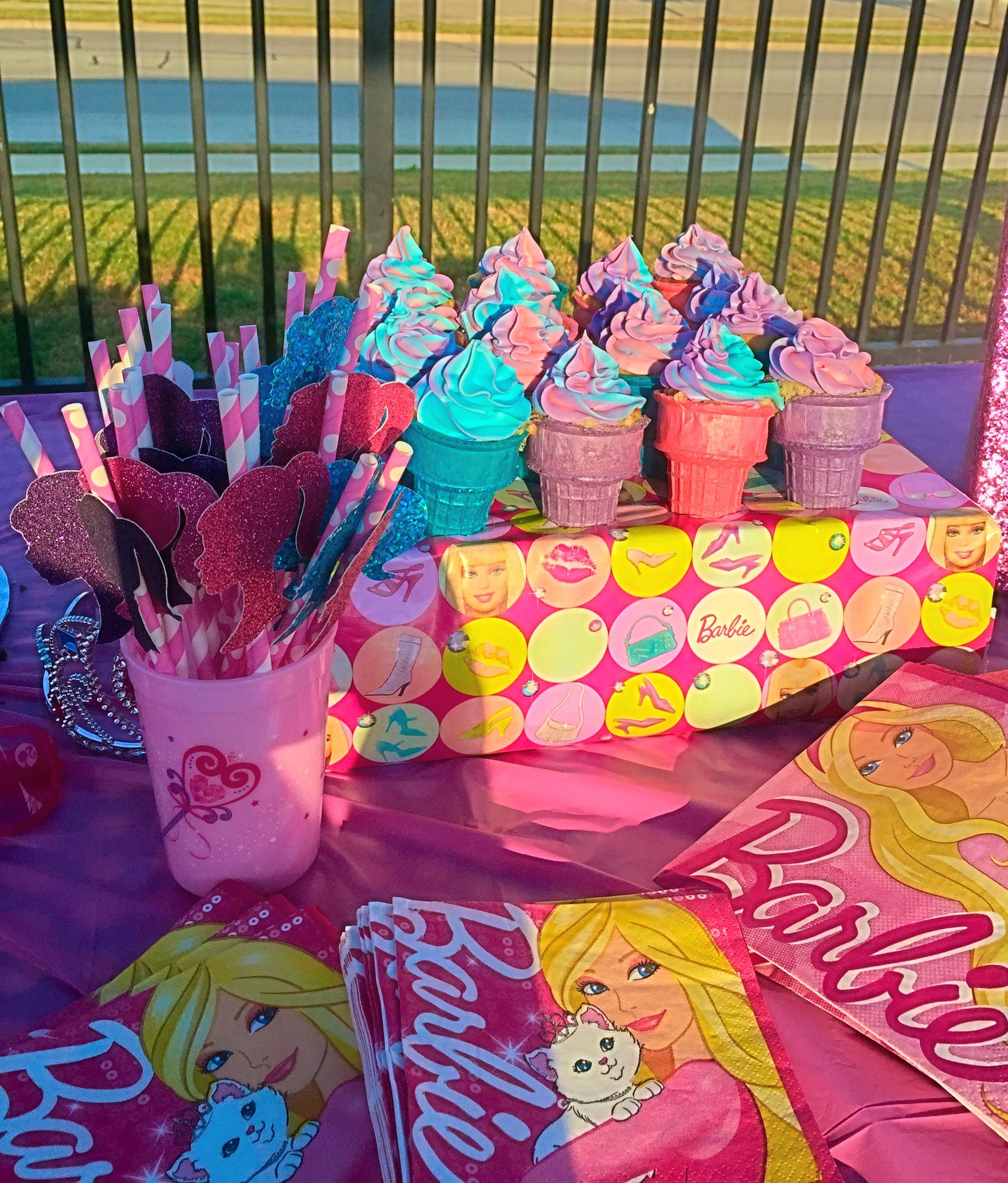 Cupcake Cones For A Barbie Beach Party Swim Party With Images