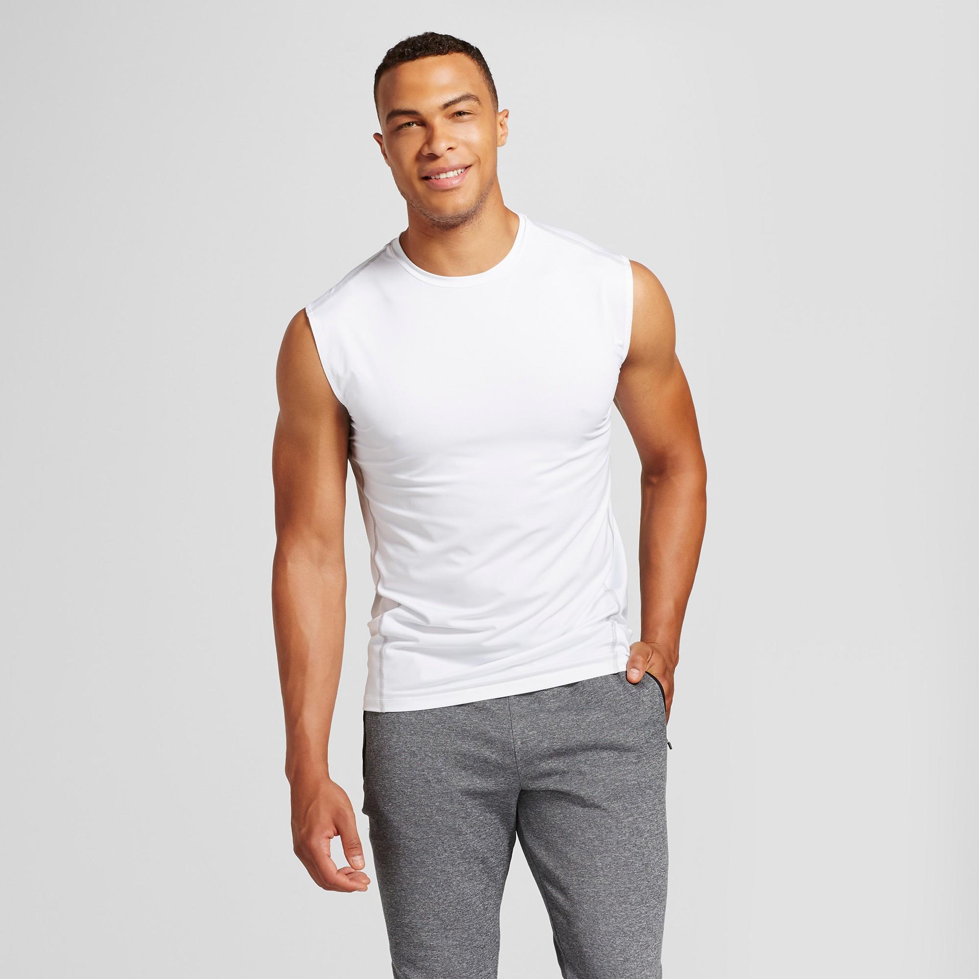 2e8339431070 Men's Powercore Sleeveless Compression Shirt - C9 Champion White 5XB Tall
