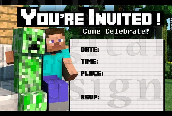 Free Minecraft Printable Birthday Invitations  Invitation