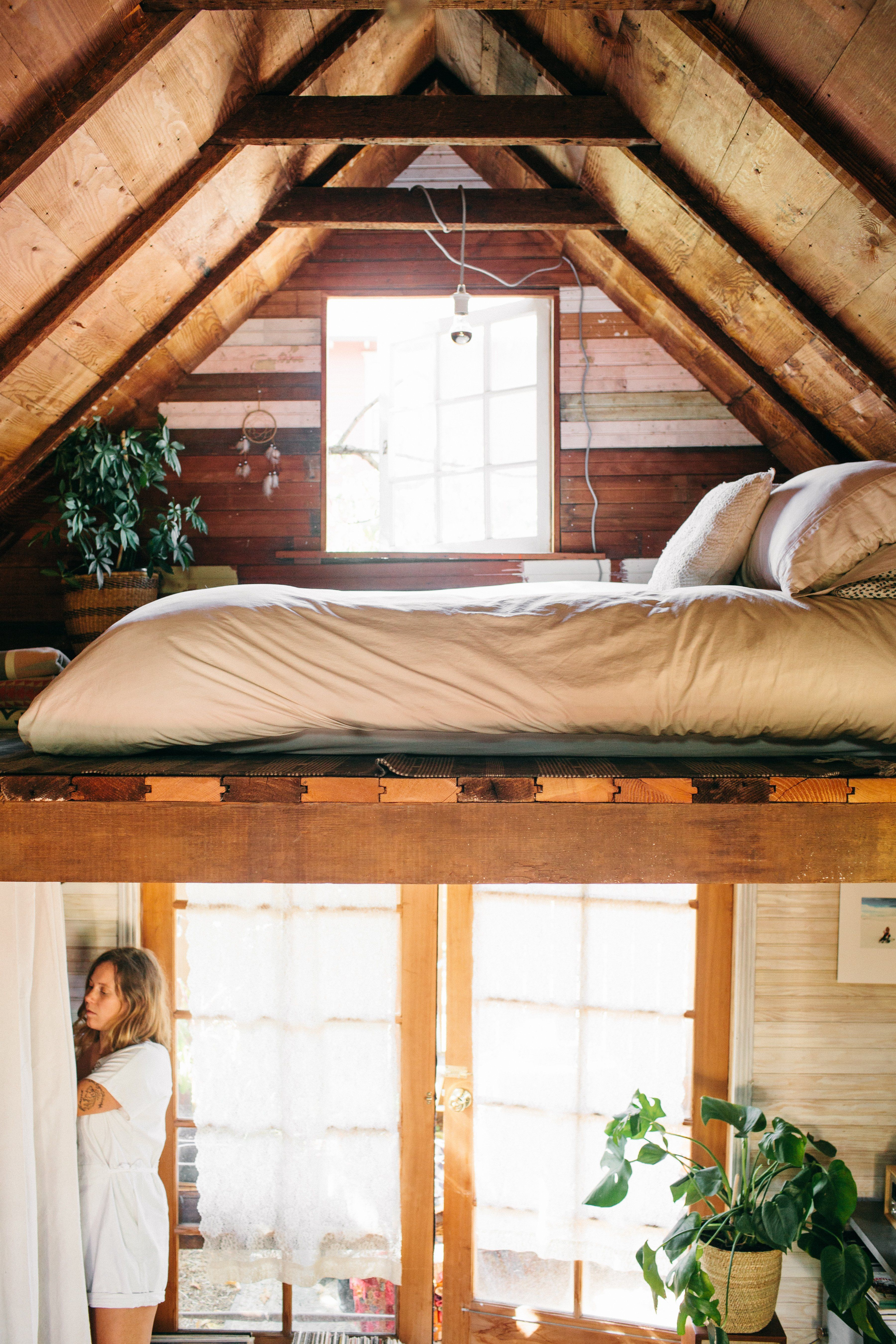 Loft bedroom privacy  Tour an Incredibly Cozy  Square Foot Cabin  Square feet Cabin