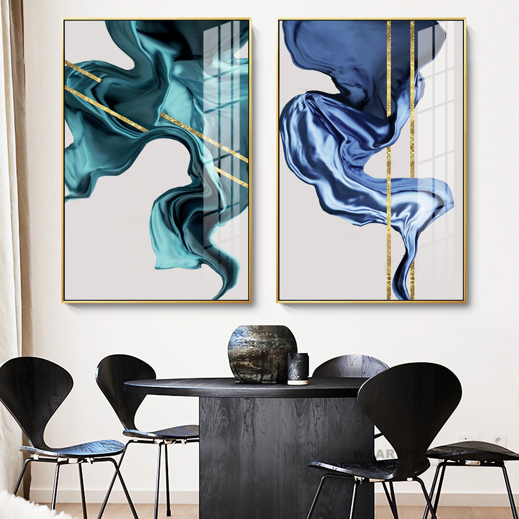 Framed Wall Art Set Of 2 Prints Geometric Abstract Gold Navy Blue Green Print Painting Painting On Canvas G Framed Wall Art Sets Frames On Wall Framed Wall Art
