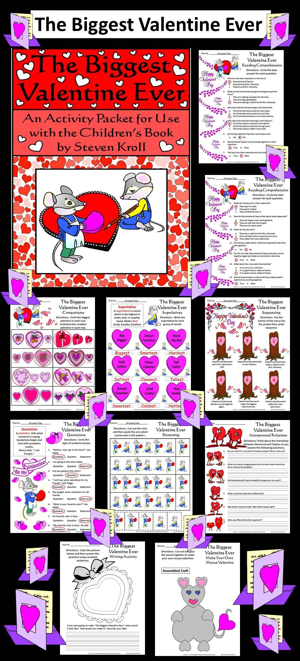 valentine 39 s day activities the biggest valentine ever activity packet sequencing worksheets. Black Bedroom Furniture Sets. Home Design Ideas