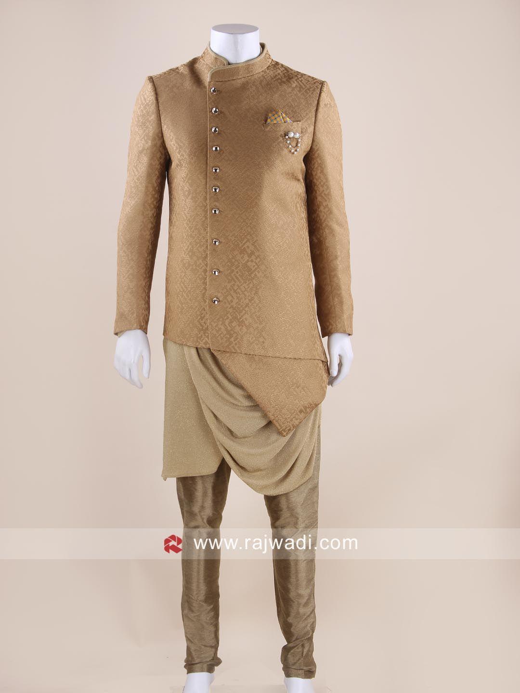 Stylish dark gold indo western for men designer in