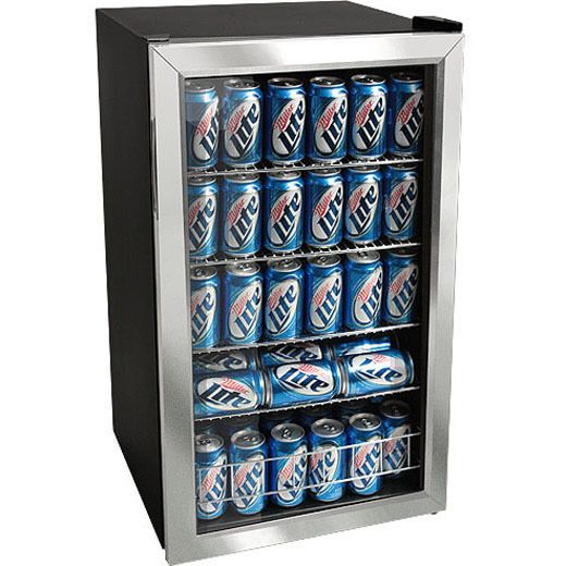 Stainless Steel 118 Can Beverage Cooler Refrigerator Compact Glass