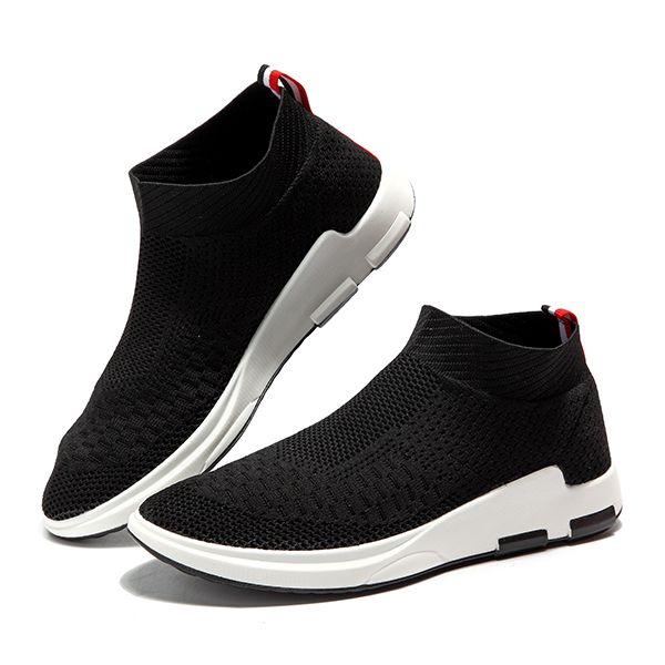 huge selection of 76f23 57588 Men Breathable Knitted Casual Shock Absorption Sneakers