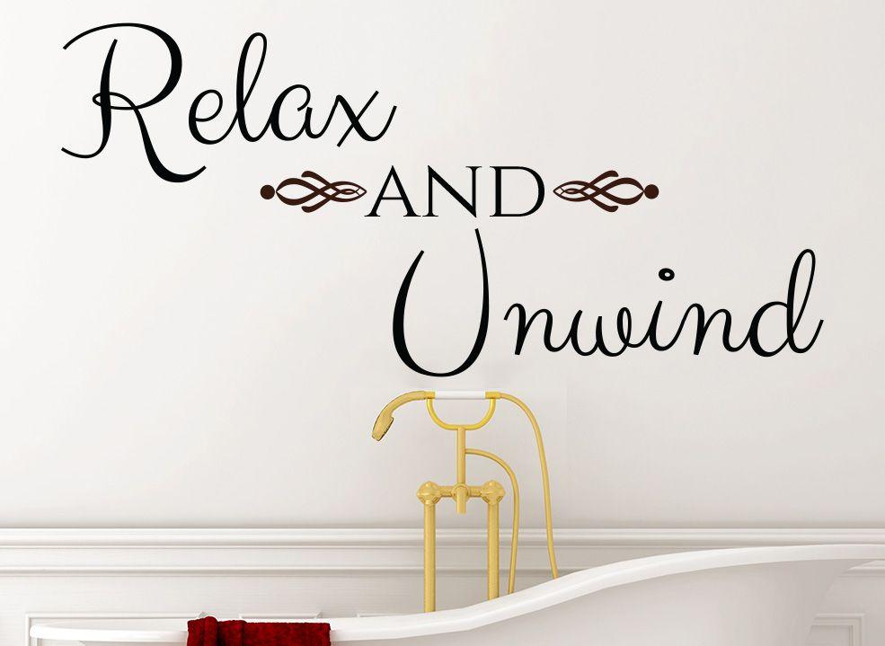 Relax and Unwind Bathroom Wall Art Sticker | Bathroom Wall Art ...